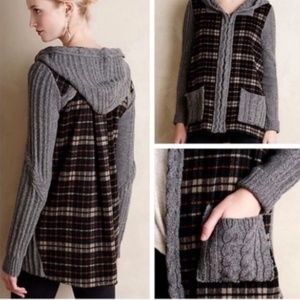 Anthropologie Moth Plaid Wool Jacket Sz Med
